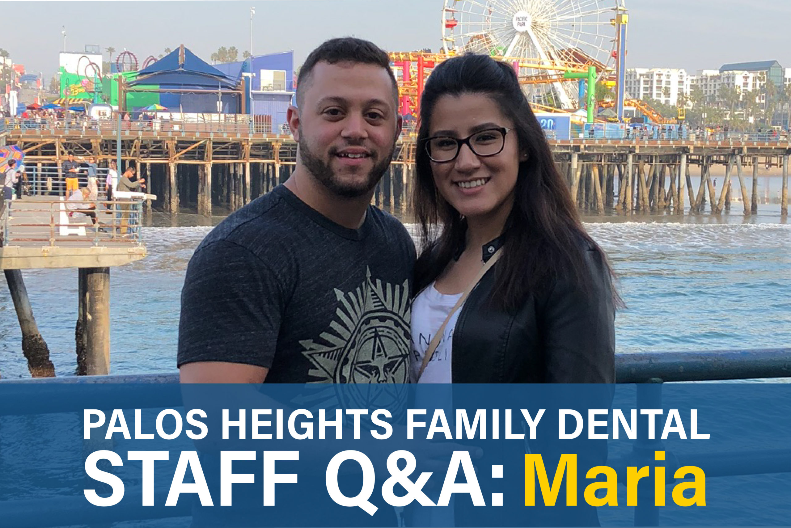 Palos Heights Family Dental Staff Q&A: Maria, on the right, posing for a photo with family.